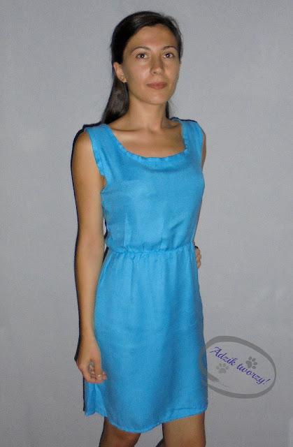 sukienka diy na lato uszyta z szala lub chusty - Adzik tworzy