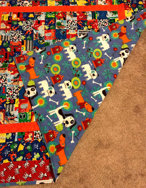 boy quilt front and back