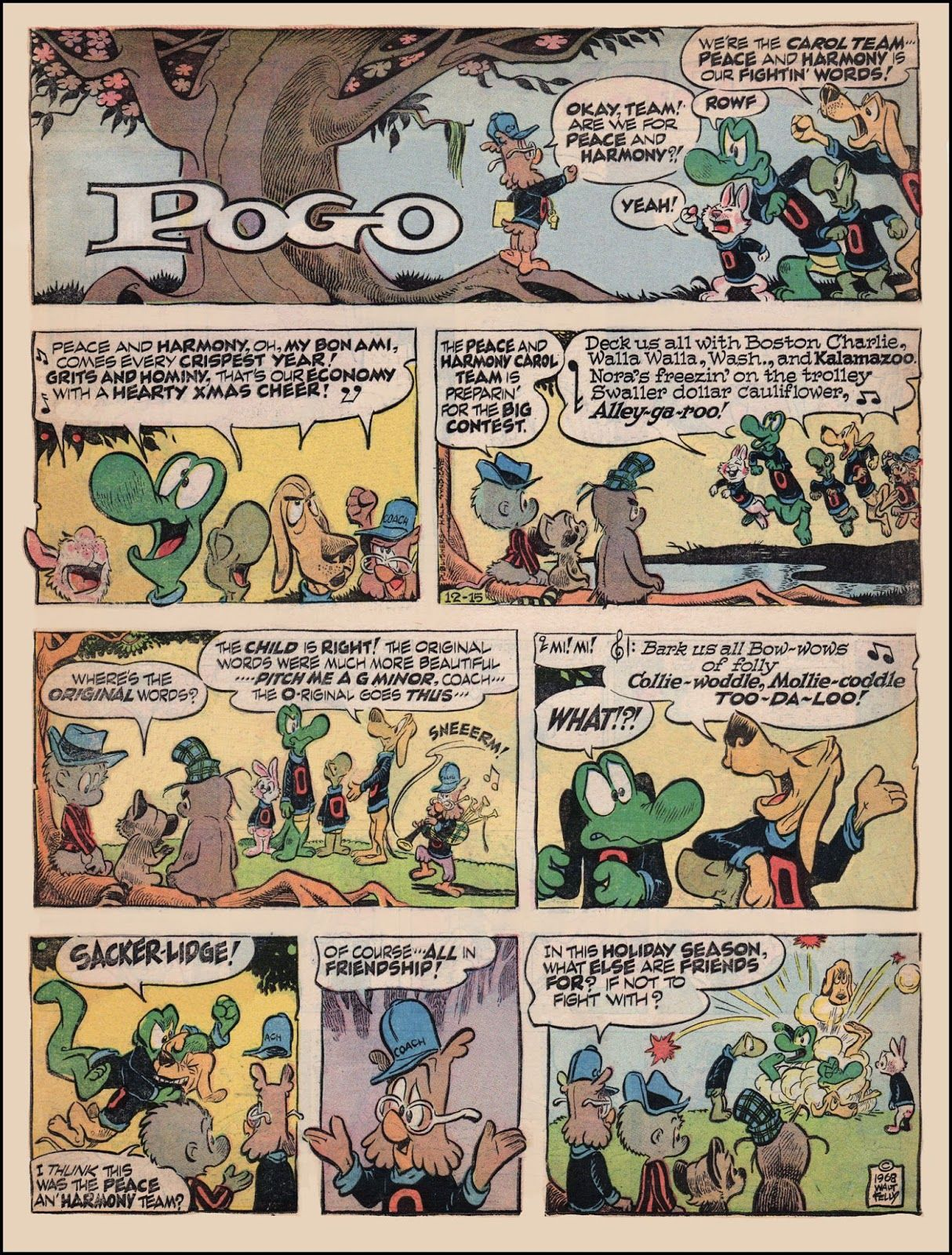 Pogo Comic Strip: The Peace & Harmony Carol Team