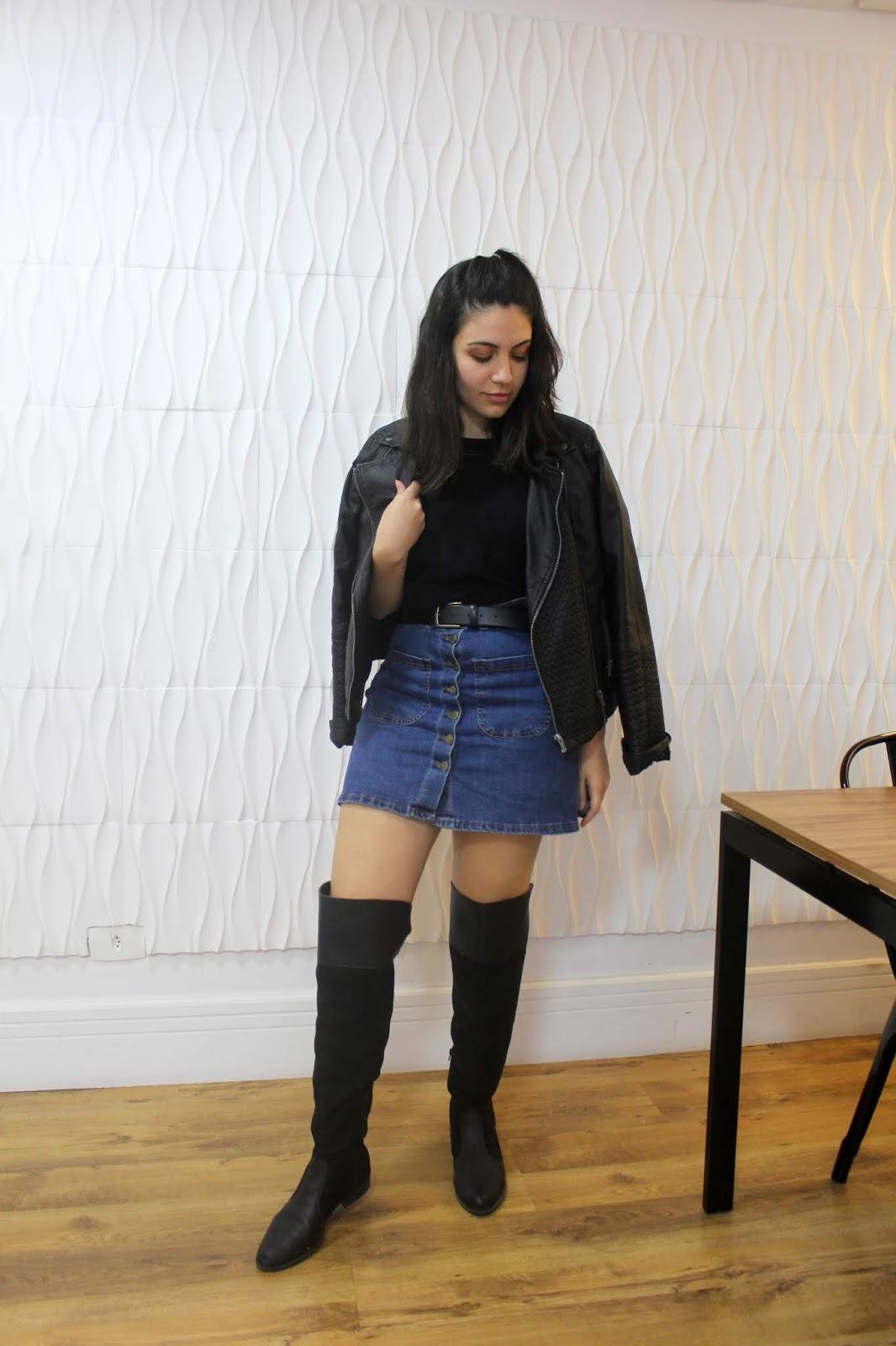 1peça3looks saia jeans de botão anadodia ana do dia look do dia look com jeans