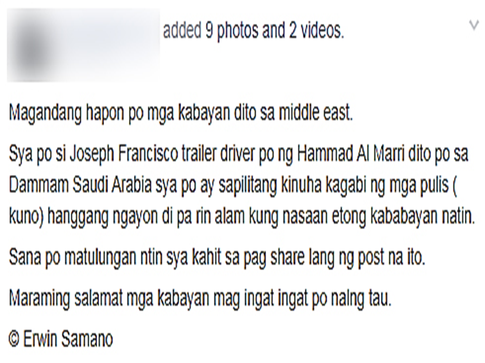 "A netizen by the name Erwin Samano recently made a social media post asking for help to know the whereabouts of their fellow OFW who was forcefully taken by men who are claiming to be policemen for unknown reason.  According to Samano, his colleague Joseph Francisco, a trailer driver for Hammad Al Marri in Dammam, Saudi Arabia, was questioned by civilian policemen inside their flat. The alleged police officers, in civilian clothes at that time, asked to open Francisco's luggage and check the inside of the bag.   Handcuffed  Francisco was taken to a private car owned by the alleged policemen with plate number 1396 while his luggage was left inside the accommodation where the alleged policemen still tries to open it.  A fellow OFW who was asking the alleged police officers as to what is happening was told to shut up and go to his room. The alleged policeman even threatened him to be handcuffed if he will not stop while holding a wrench in his hand.    In another video, the alleged policeman still tries to open  the luggage. When he cannot open it, he told everyone in the accommodation to stay in their rooms and carried the luggage bag  with him. In a few seconds a commotion started to happen and the man who was takin a video utters "" p***ng**a, sinapak pa.."" referring to the policemen beating Francisco. The police shouted at them telling them to stay in their rooms and when the person taking the video was already inside, a loud slam of the steel door was heard. The big problem now is that they do not know the whereabouts of their fellow OFW or whether he was arrested by legitimate police officers.  Samano made an appeal to the netizens to share his post, which has been taken down later for his own security. Read More: The effectivity of the Nationwide Smoking Ban or  E.O. 26 (Providing for the Establishment of Smoke-free Environment in Public and Enclosed Places) started today, July 23, but only a few seems to be aware of it.  President Rodrigo Duterte signed the Executive Order 26 with the citizens health in mind. Presidential Spokesperson Ernesto Abella said the executive order is a milestone where the government prioritize public health protection.    The smoking ban includes smoking in places such as  schools, universities and colleges, playgrounds, restaurants and food preparation areas, basketball courts, stairwells, health centers, clinics, public and private hospitals, hotels, malls, elevators, taxis, buses, public utility jeepneys, ships, tricycles, trains, airplanes, and  gas stations which are prone to combustion. The Department of Health  urges all the establishments to post ""no smoking"" signs in compliance with the new executive order. They also appeal to the public to report any violation against the nationwide ban on smoking in public places.   Read More:          ©2017 THOUGHTSKOTO www.jbsolis.com SEARCH JBSOLIS, TYPE KEYWORDS and TITLE OF ARTICLE at the box below Smoking is only allowed in designated smoking areas to be provided by the owner of the establishment. Smoking in private vehicles parked in public areas is also prohibited. What Do You Need To know About The Nationwide Smoking Ban Violators will be fined P500 to P10,000, depending on their number of offenses, while owners of establishments caught violating the EO will face a fine of P5,000 or imprisonment of not more than 30 days. The Department of Health  urges all the establishments to post ""no smoking"" signs in compliance with the new executive order. They also appeal to the public to report any violation against the nationwide ban on smoking in public places.          ©2017 THOUGHTSKOTO"