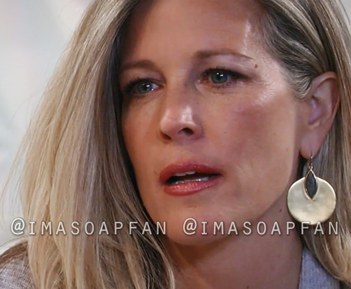 Carly Corinthos, Laura Wright, Labradorite and Gold Disc Drop Earrings, General Hospital, GH