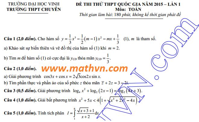 dap an de thi thu mon toan chuyen dh vinh lan 1 nam 2015