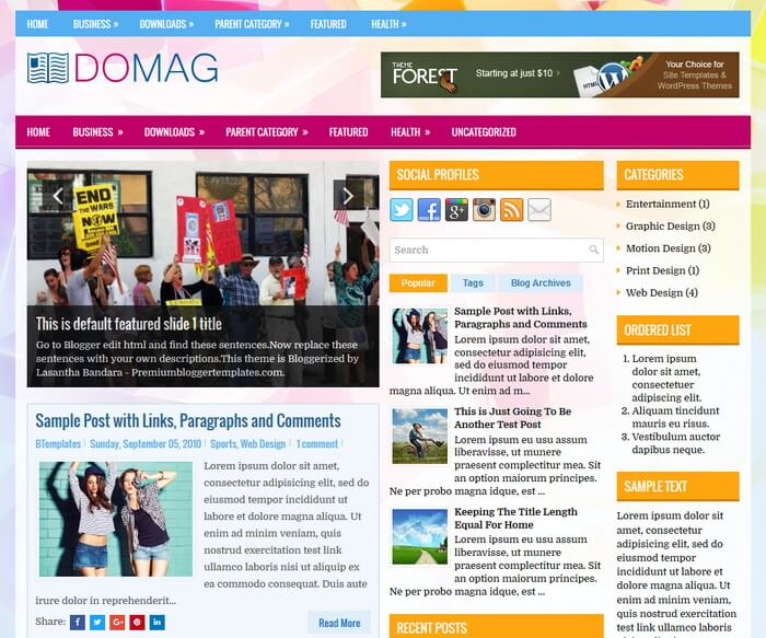 is a gratis blogger template amongst features such equally  Free Download DoMag Blogger Template