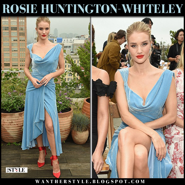 Rosie Huntington-Whiteley in pale blue velvet monse dress and red satin pumps christian louboutin fashion week model style september 11