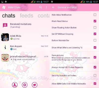Download BBM2 Mod Hello Kitty Apk Versi 3.3.2.31 Clone Update Terbaru