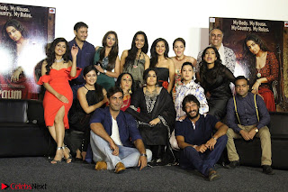 Vidya Balan with Ila Arun Gauhar Khan and other girls and star cast at Trailer launch of move Begum Jaan 022.JPG