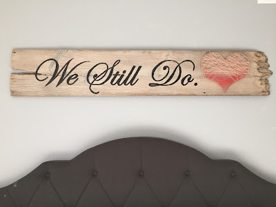 #millsnewhouse, master bedroom, wall art, painted sign, string art