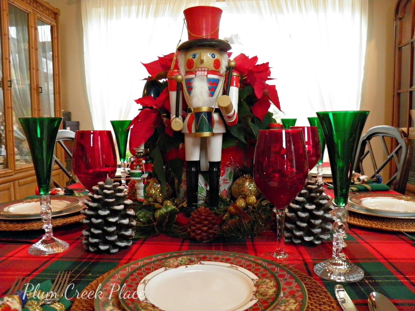Nutcracker tablescape, Noritaki Royal Hunt, Noel wine flutes, poinsettias, pine cones