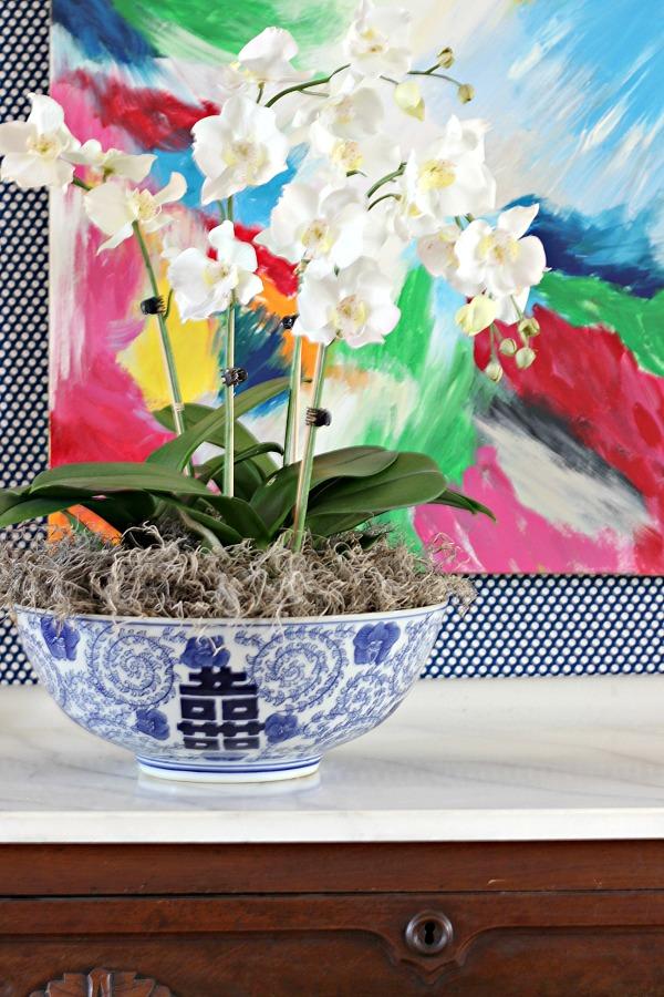 orchids, flower arrangement, how to arrange orchids, blue and white bowl