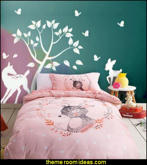 Tree Decal With Doe, Deer Butterflies Deer Bedding Pink Bedding Girls  Woodland Bedding