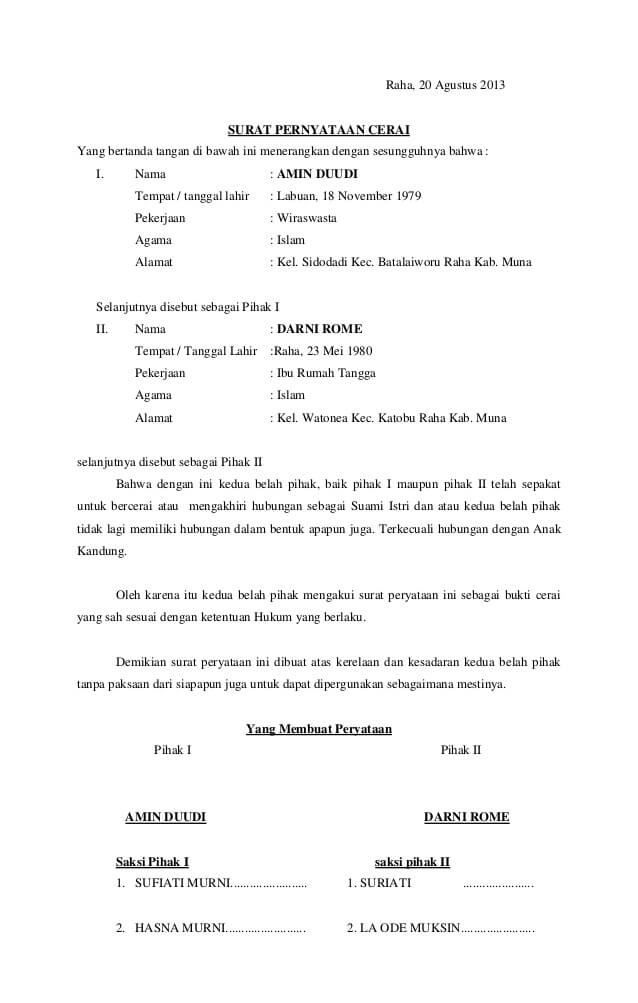 10 Contoh Surat Pernyataan Cerai Yang Benar Terlengkap Isplbwiki Net
