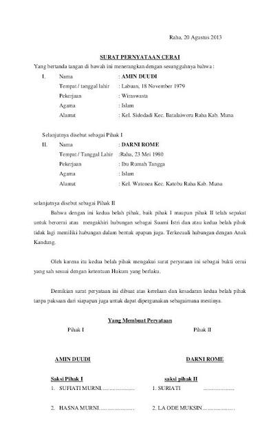 Contoh Surat Cerai Yang Benar