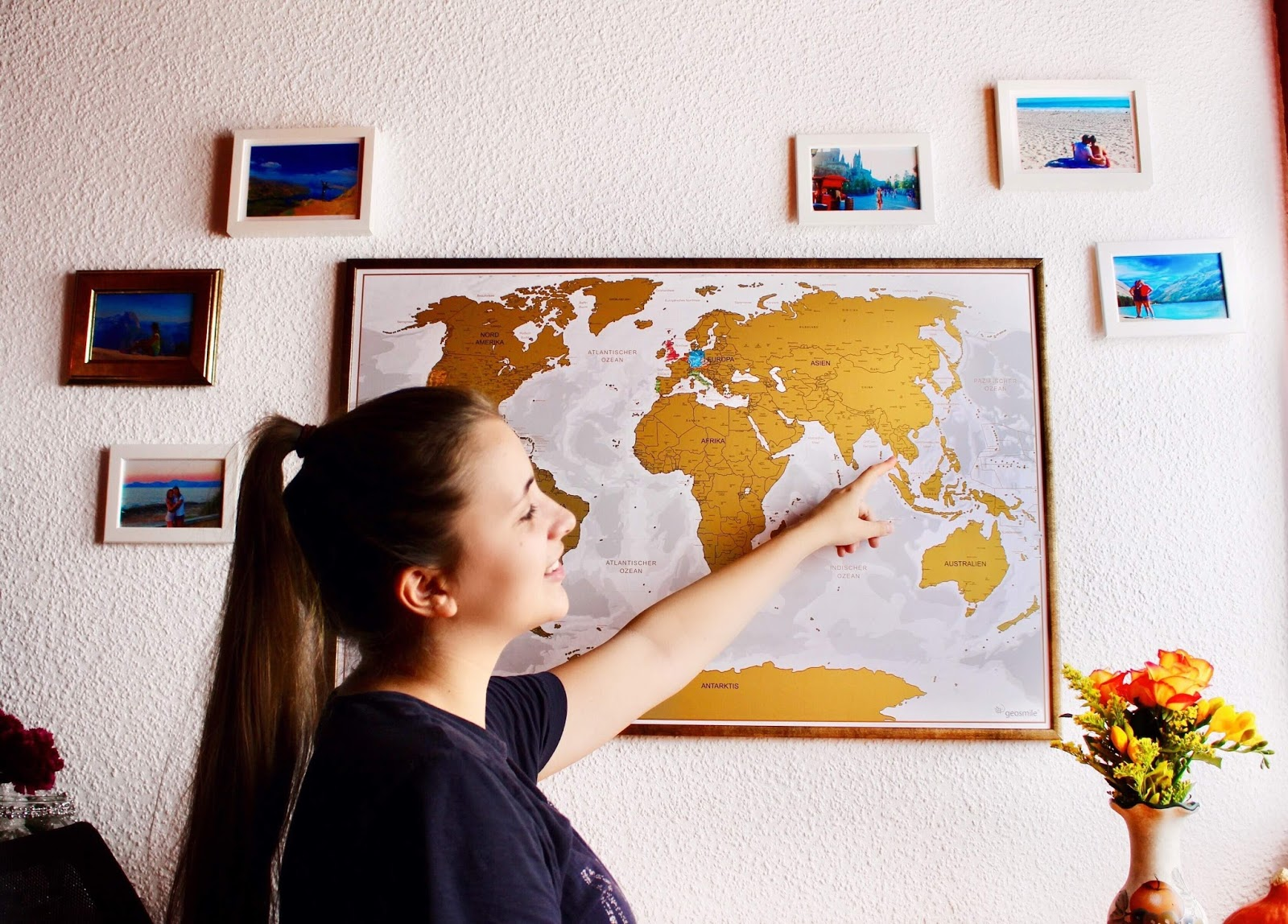 Girl with World Map Travel Blogger Goals
