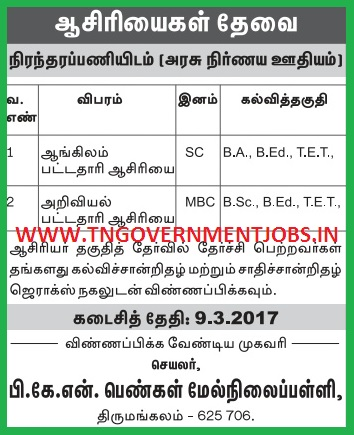 pkn-girls-hss-tirumangalam-madurai-BT-Assistant-English-and-Science-Teacher-Govt-Aided-Post-Recruitment-Notification-01March2017