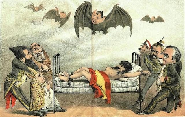 El clericalismo y la reacción martirizan España (Caricatura publicada en El Motín a principios de 1885)
