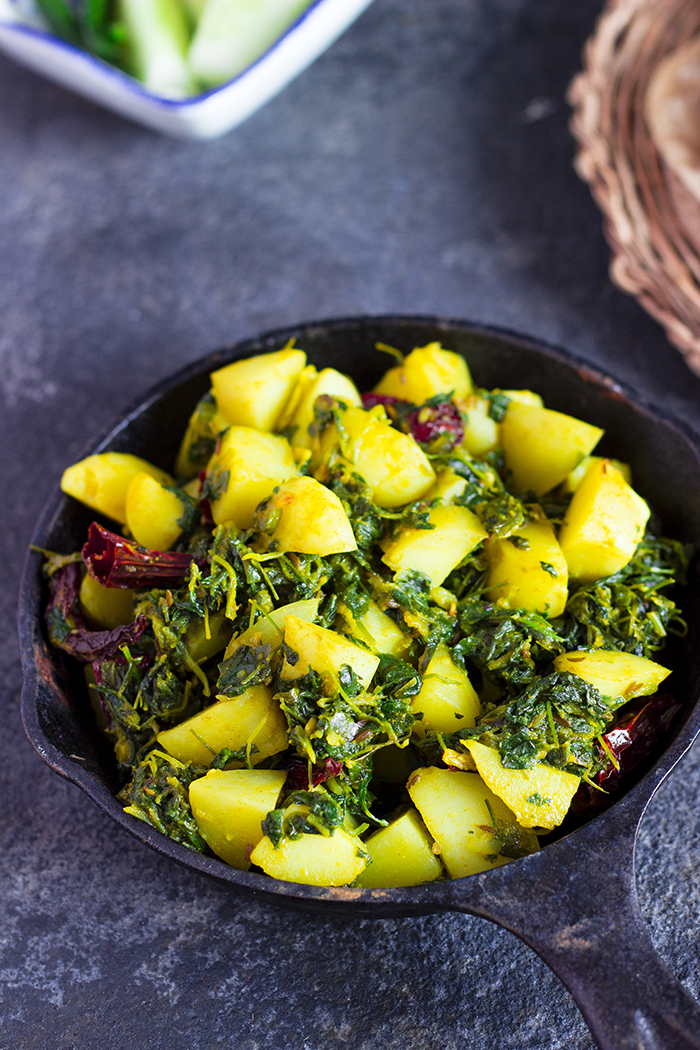 vegan Indian curry made of potatoes and fenugreek leaves