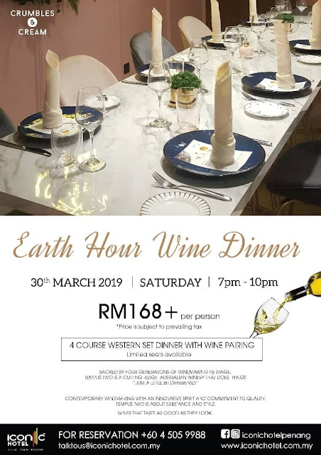 Earth Hour Wine Dinner on 30th March 2019 @ Iconic Hotel, Penang