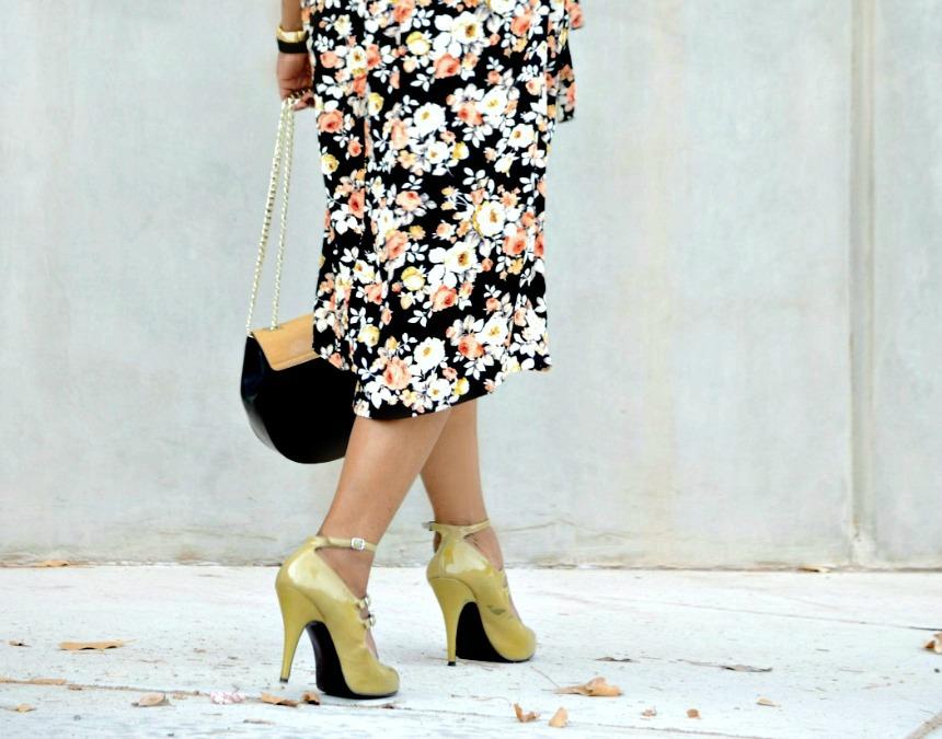 Topshop-Trench Coat-Floral Midi dress-Steven Madden Pump-NastyGal-Two-tone Crossbody bag