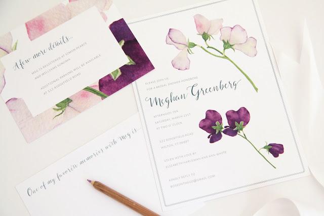 Emily Harwood Blass, Invitations, stationery, sweet peas, Anne Butera, watercolor, Kate Danson
