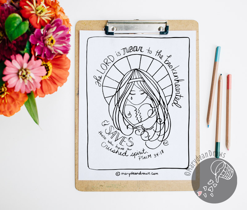 God Is Near Psalm 34 18 Printable Bible Verse Coloring