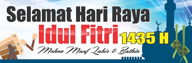 Contoh Spanduk, Banner ucapan Idul Fitri 2018 warna Biru