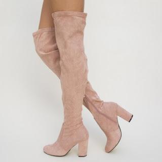Cizme elegante Roz din piele eco intoarsa elegante de primavara ieftine