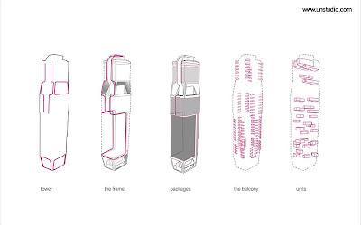 Dibujos técnicos que muestran aspectos de la estructura de la torre