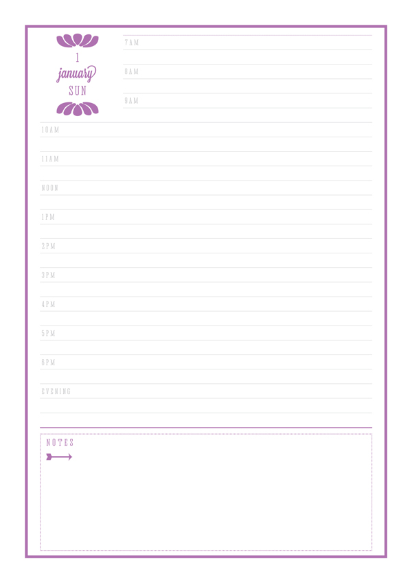 Free Printable 2017 Day to a Page Diary by Eliza Ellis