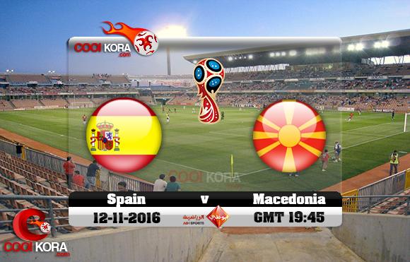مشاهدة مباراة أسبانيا ومقدونيا اليوم 12-11-2016 تصفيات كأس العالم