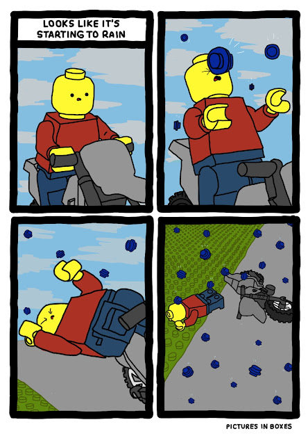 Funny comic about it raining in Legoland