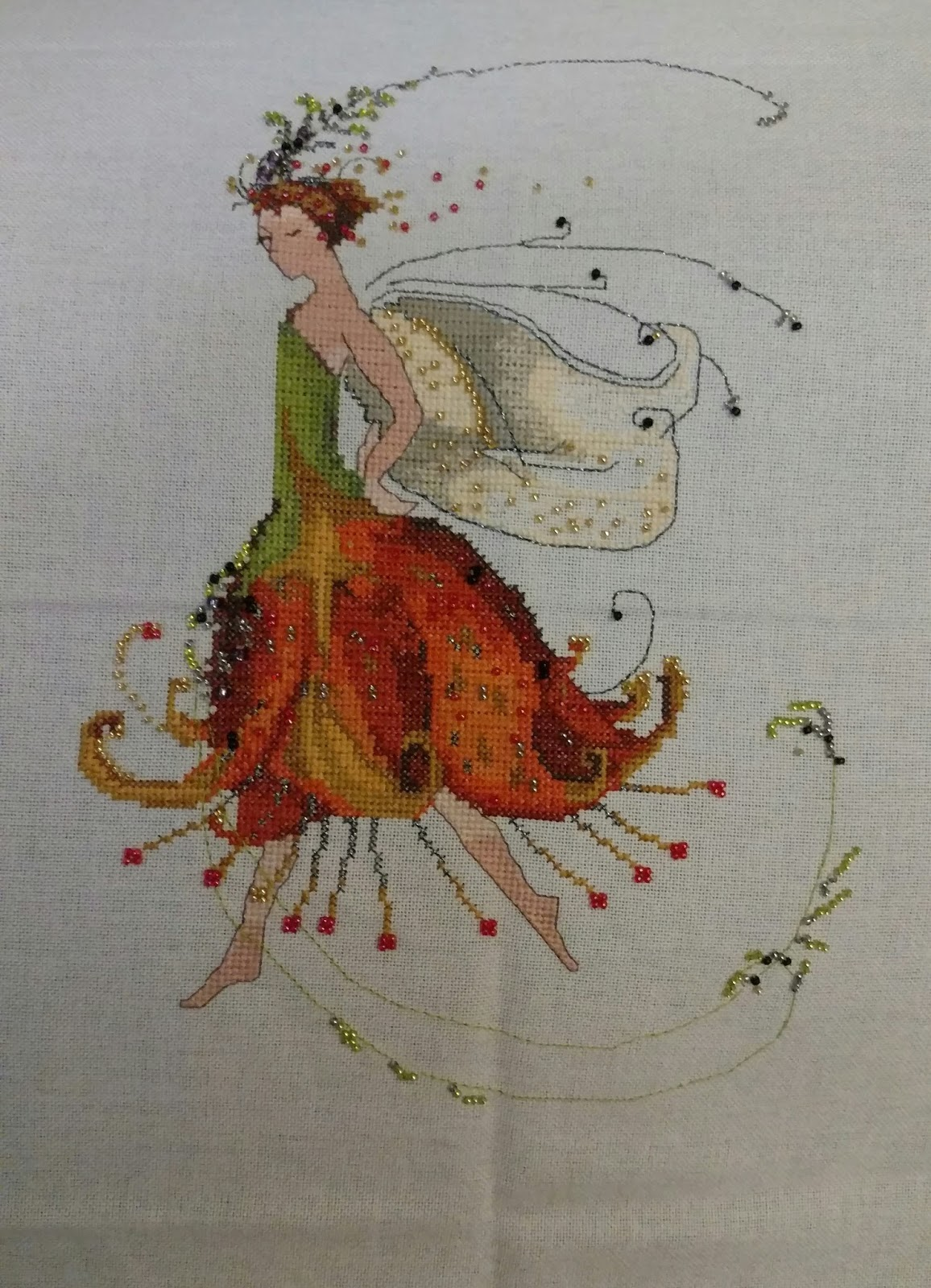 Twistedntangled threads cross stitch tiger lily by nora corbett stitched on 28 ct waterlily by wilchelt using dmc kreinik threads plus mill hill beads nvjuhfo Image collections