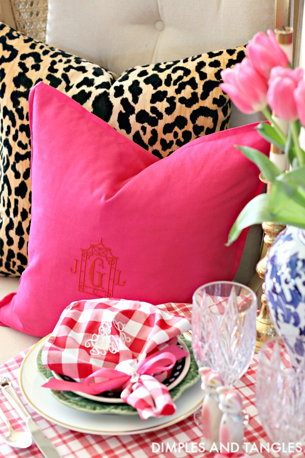 jamil natural leopard pillow, ikea gurli hot pink pillow, pagoda monogram, valentines day table