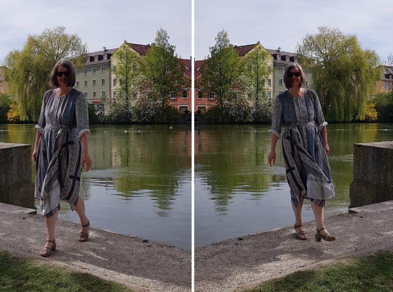 Schaldruckkleid mit Sandalen kombiniert