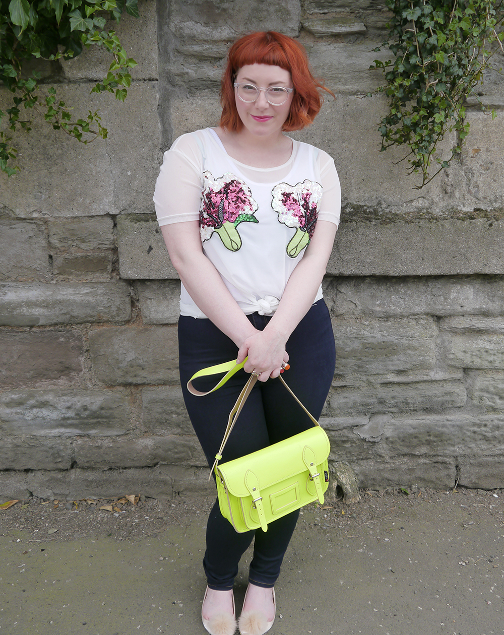 styled by Helen, Scottish blogger, Dundee blogger, red head, ginger hair, short ginger hair, Iolla glasses, #seewithiolla, Never Monday, day time sequins, sequin top, casual sequins, Yoshi satchel, neon yellow satchel, denim jean, pom pom shoes, pom pom flat shoes, pink pom pom shoes