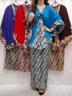 Baju batik pesta kombinasi polos rok panjang