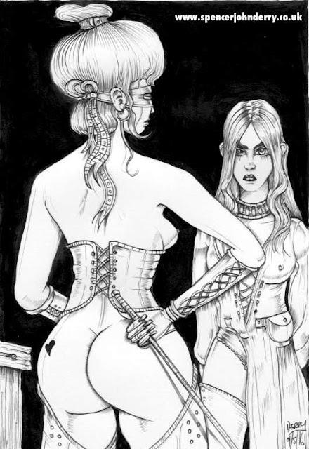 Obedience • Hand Drawn Original Nude Female Fetish Art Ink drawing Spencer John Derry artist