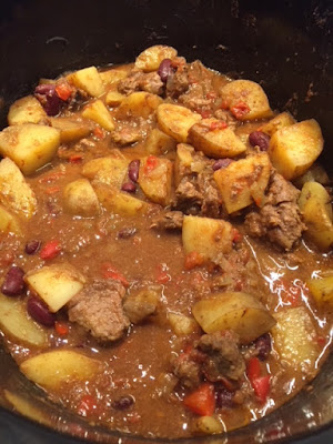 Cooked Chunky Slow Cooker Beef Chilli Hash in a slow cooker
