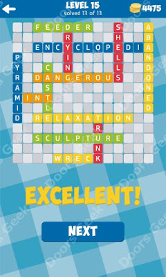 Cheats, Solutions for Level 15 in 13 Word Connect by Second Gear Games