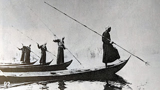Madan fishing with spears from boats