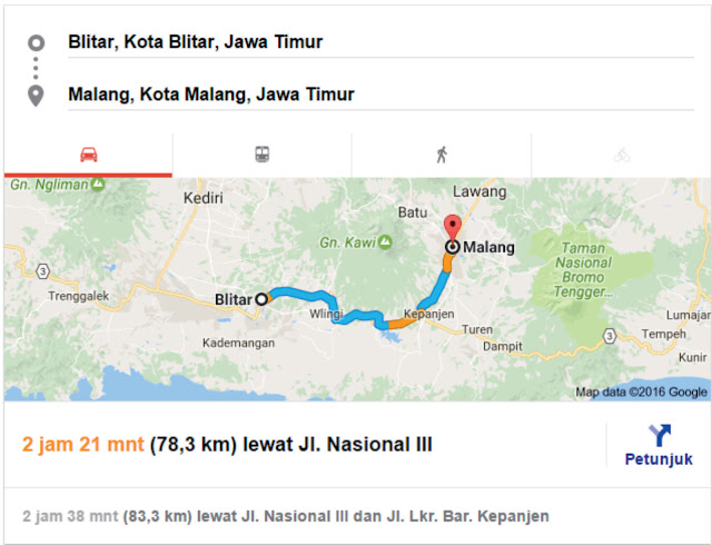 Peta Blitar-Malang