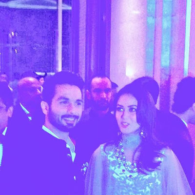 Shahid Kapoor  with wife Mira Rajput  Kapoor at Reception