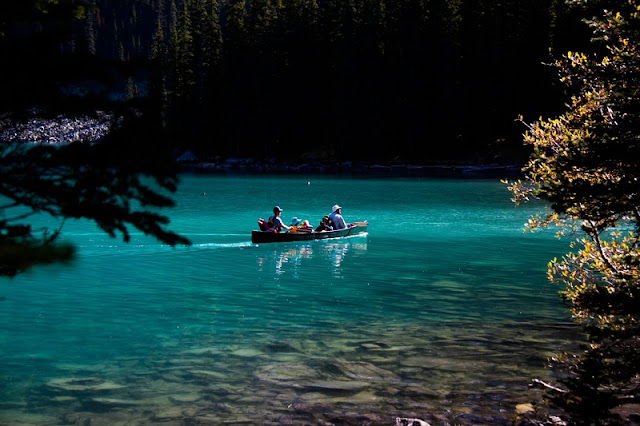Adventure at the Lake with Small Boat at Banff National Park