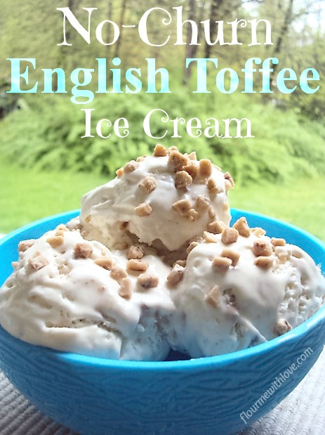 Three simple ingredients turn into a delicious and creamy no-churn English Toffeeice cream!
