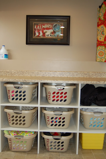 Dad Built This Laundry Folding And Cubbies