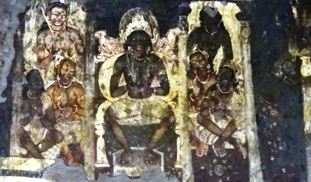 Ajanta cave 2 painting showing Bodhisattva and Gods - The rebirth of enlightened one