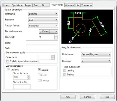 cara setting dimensi dalam autocad