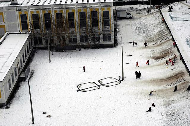 Intervención artística urbana del artista urbano P183