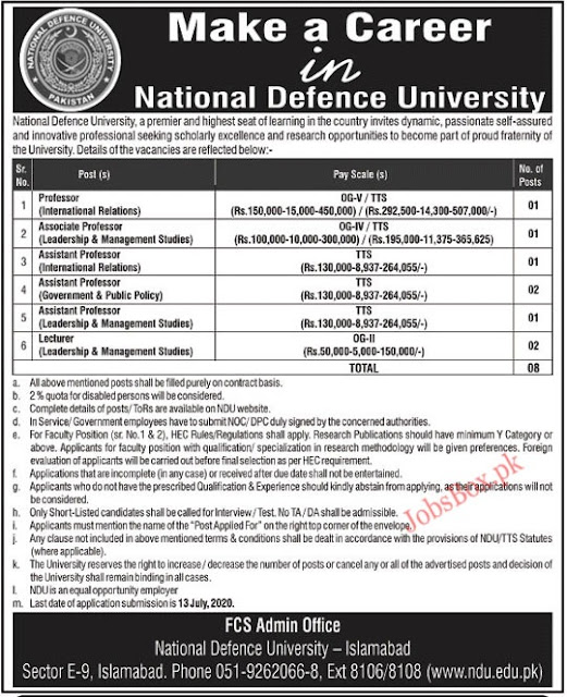 national-defence-university-islamabad-jobs-2020-application-form