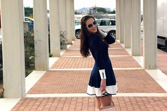 Sammydress navy mini dress, sailors trend
